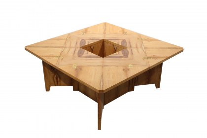 Table basse en placage d'if. Table carrée pliable.