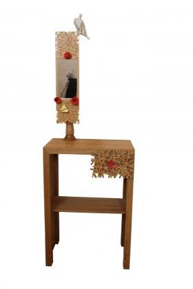 Sculpture à tiroirs console taillis