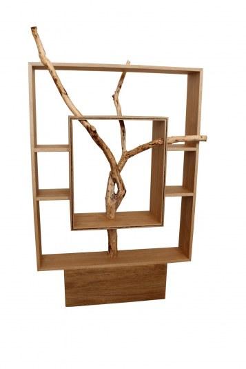 étagère bibliothèque en chêne massif avec une branche de saule