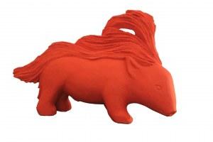"""""""cochonnet rouge"""" sculpture granit peint"""