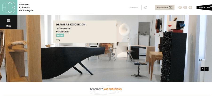 Capture d'écran nouveau site Internet des Ébénistes Créateurs de Bretagne
