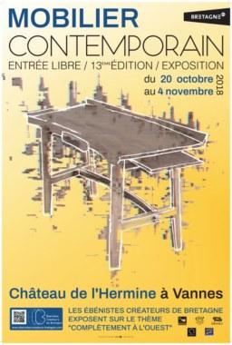 L'Affiche de l'Expo 2018 Vannes Ébénistes créateurs de Bretagne : Complètement à l'Ouest